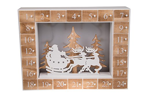 """Santa's Christmas Sleigh and Reindeer 24 Day Wooden Advent Calendar 