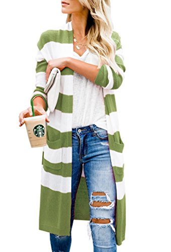 Imily Bela Womens Duster Cardigans Casual Striped Open Front Sweater Outwear with - Cardigan Summer Long