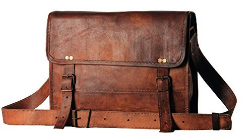HandMadeCart Men's Auth Real Leather Messenger Laptop Briefcase Satchel Mens Bag ()