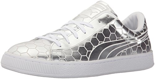 PUMA Men's Basket Classic Metallic Fashion Sneaker, Silver, 9.5 M - Silver Sneakers Mens