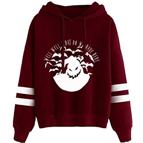 Hoodies for Women Halloween Print Long Sleeve Drawstring Casual Sweatshirt - Limsea Wine
