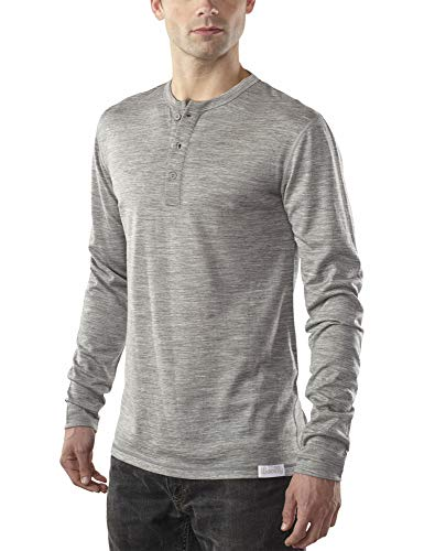 Woolly Clothing Men's Merino Wool Long Sleeve Henley - Everyday Weight - Wicking Breathable Anti-Odor L Gry