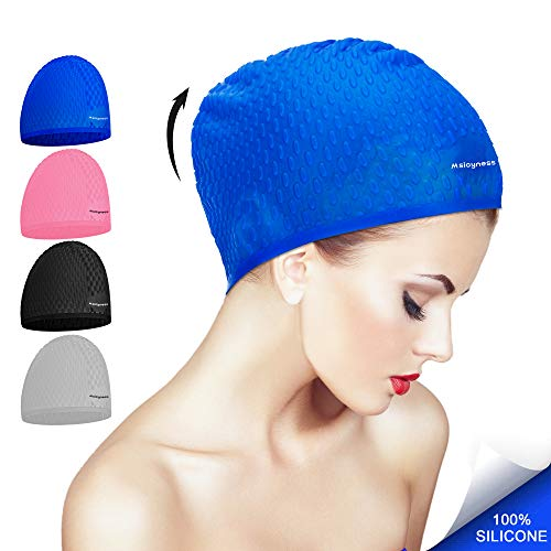 71af40e6241 Msicyness Swim Cap for Long/Curly Hair Silicone Swimming Hat for Adult Swimming  Pool Laps Latex Rubber Reduce Water Intake Men Women UV Guys Girl Bathing  ...