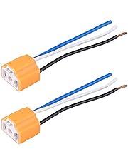Wiring Harness Headlight Socket, 2Pcs Female Ceramic Headlight Connector Plug Adapter Socket for H4/9003/HB2