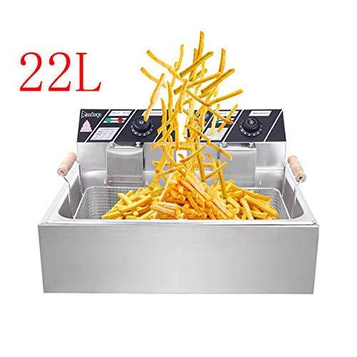 23.26Qt/22L 5000W MAX Deep Fryer, Large Capacity Stainless Steel Single Basket Electric Fryer, Chicken Chips Fryer for…