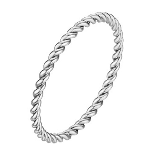 INRENG Women's Stainless Steel 1.5mm Twisted French Rope Thin Wedding Ring Silver Size 7 (Band Rope Design Ring Wedding)