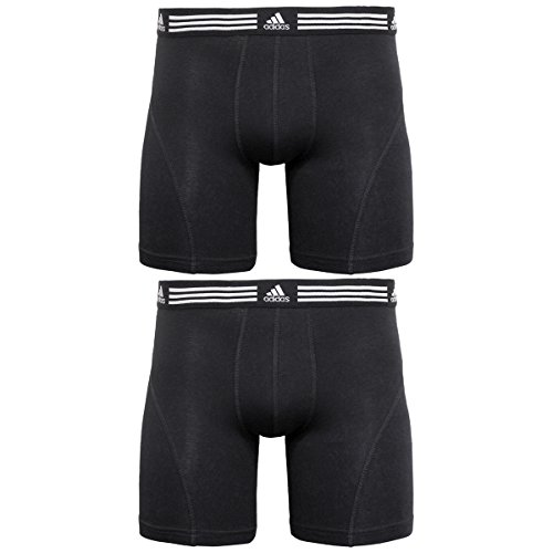 adidas Men's Athletic Stretch Boxer Brief Underwear (2-Pack), Black, X-Large