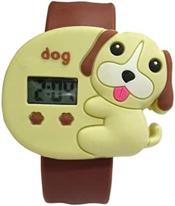 Cartoon Yellowish Brown Puppy Unisex Kids Water-resistant Sports Watch Bendable Rubber Strap Wrist Watch