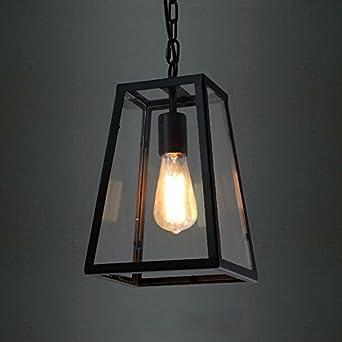 BAYCHEER Laterne Retro Vintage Pendelleuchte Hngelampe Industrie Kronleuchter Deckenlampe E27 Fassung Hhenverstellbar Mit Glas Fr Wohnzimmer