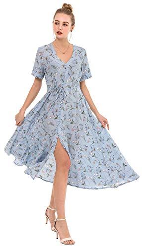 Wantdo Women's Slim Fit Split Dress Floral Full Length Skirt Light Blue S ()