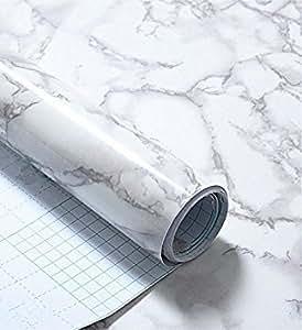 Papel autoadhesivo de vinilo brillante impermeable, color gris mármol. Despega y adhiere, forro para estantes, para cubrir mesadas o alacenas, adhiere a paredes (61 x 200cm)