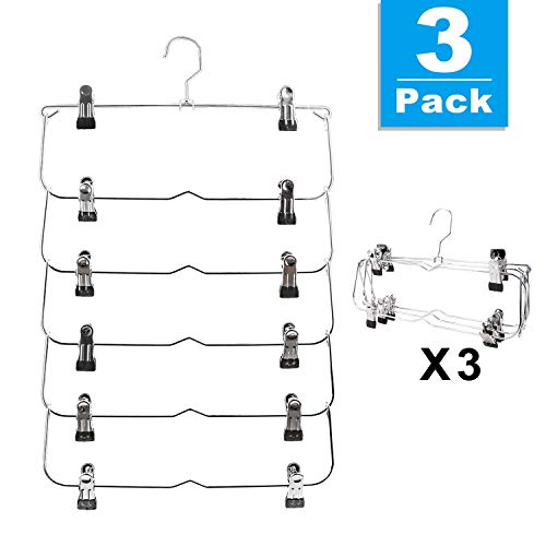 6-Tier Skirt Hangers,Space Saving Pants Hangers Sturdy Multi-Purpose Stainless Steel Pants Jeans Slack Skirt Hangers with Clips Non-Slip Closet Storage Organizer(3pack