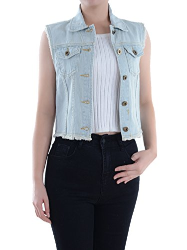 Jean Canvas Jacket - Anna-Kaci Womens Distressed Denim Button Up Sleeveless Crop Vest, Light Blue, Small