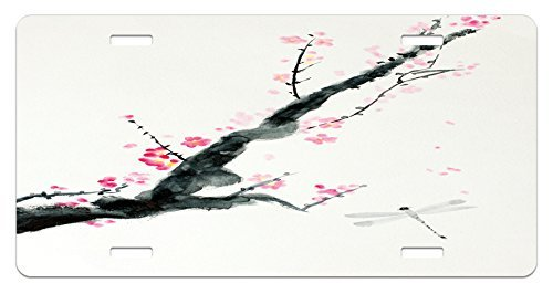 zaeshe3536658 Dragonfly License Plate, Branch of a Pink Cherry Blossom Sakura Tree Bud and A Dragonfly Dramatic Artisan, High Gloss Aluminum Novelty Plate, 6 X 12 Inches. ()