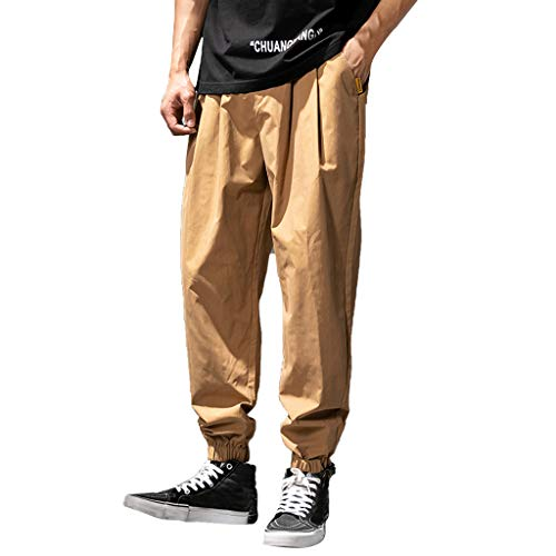 Transser- Mens Overalls Hallen Work Cargo Pants, Wrinkle-Resistant Flat-Front Casual Jogger Trouses Coffee