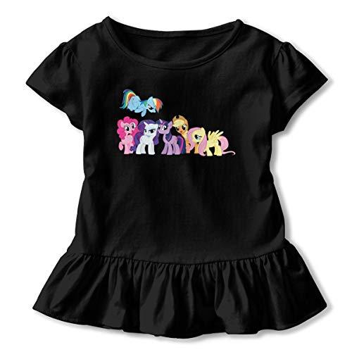 Kinggo Children My Little Pony Frienghsip is Magic Children Cartoon Printing Short Sleeves Corrugated Edge Tshirts Underdress Black 3T -