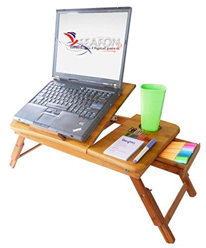SEAFON Mesa De Bambú Con Ventilador Cooler Para Laptop De 10 - 16