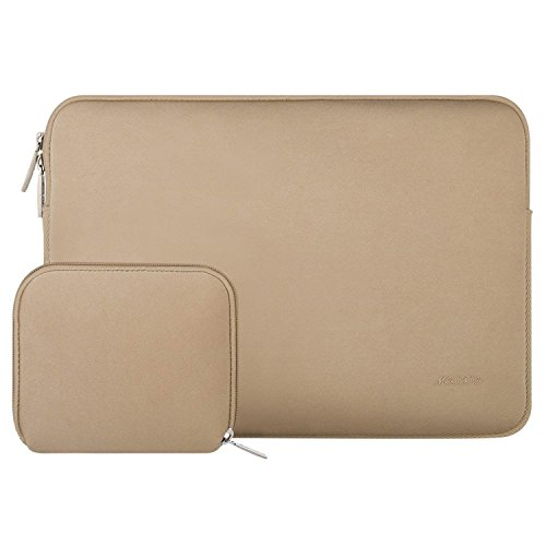 MOSISO Water Repellent Lycra Sleeve Bag Cover Compatible 13-13.3 Inch Laptop with Small Case Compatible MacBook Charger, Apricot