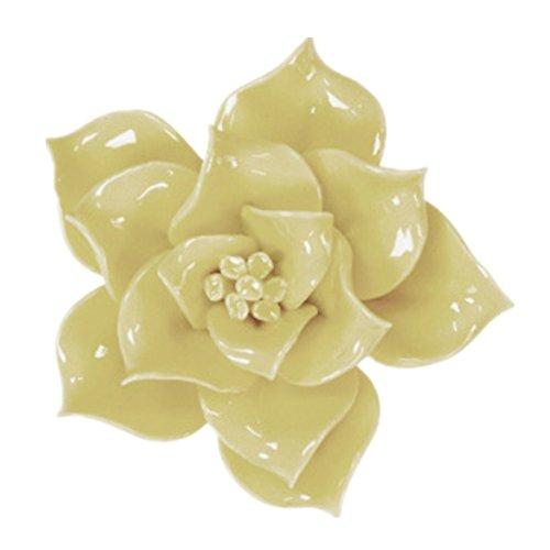 Handmade Ceramic Flowers Three-dimensional TV Sofa Background Wall Decorations Creative Living Room Ornaments (M, Yellow)