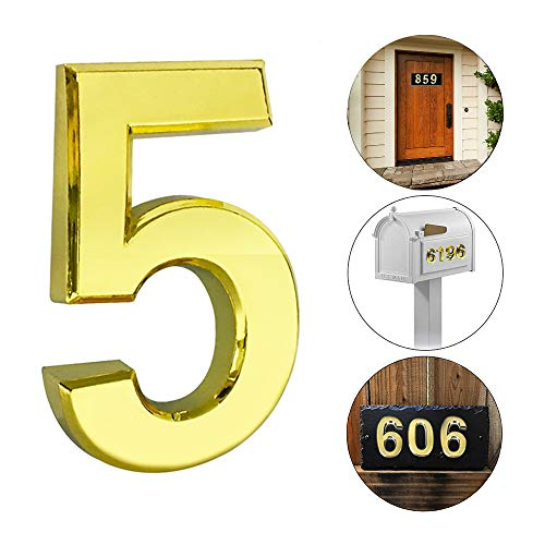 (iMustech Mailbox Numbers, 2 pcs Solid Self-stick Number 5 for Mailbox, Door, Apartment, Hotel, 2-3/4 Inch, 3D Metal Golden)