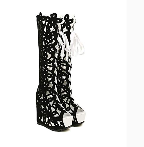 White sandals boots 13 heels High with hollowed bandages cm Summer qwIH8zU