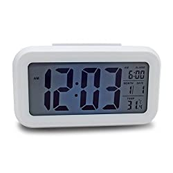 Digital Lcd Screen Mini Desktop Projector Led Alarm Clock Multi-Function With Snooze + Backlight +Calendar +Thermometer 5 Colors^White.