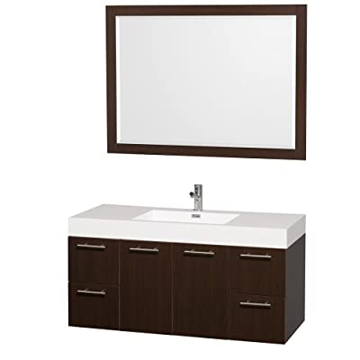 Wyndham Collection Amare 48 inch Single Bathroom Vanity in Espresso with Acrylic-Resin Top and Integrated Sink, and 46 inch Mirror - Constructed of the highest grade MDF, engineered for durability to prevent warping and last a lifetime Minimal assembly required Single-hole faucet mount - bathroom-vanities, bathroom-fixtures-hardware, bathroom - 41SBUsfjI7L. SS400  -