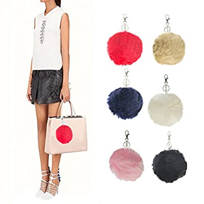 6 Pack Large Faux Fur Ball Keychains Pom Accessory Blue Black Brown Red Pink White