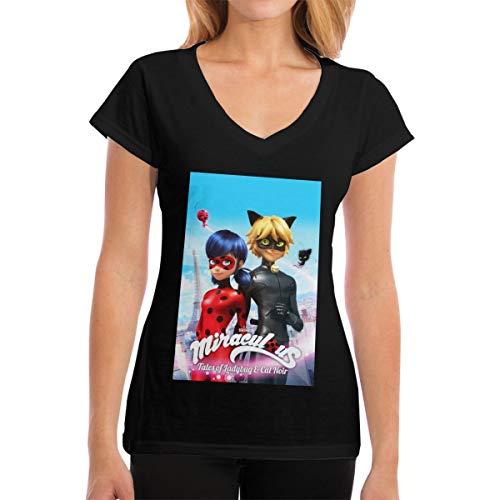 Custom Miraculous Tales of Ladybug Cat Noir T Shirt O-Neck for Womens Black S
