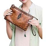 Womens Crossbody Purse Wristlet Clutch Handbags Genuine Leather Shoulder Bag (S, Brown)