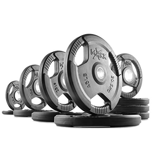 XMark TRI-Grip 185 lb Set Olympic Weights, Premium Rubber Coated Olympic Plates, One-Year Warranty (Best Home Gym Set)
