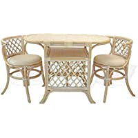 Borneo Compact Dining SET Table with Wicker Top +2 Chairs White Wash Handmade Natural Wicker Rattan Furniture