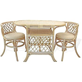 Merveilleux This Item Borneo Compact Dining SET Table+2 Chairs White Wash Handmade  Natural Wicker Rattan Furniture
