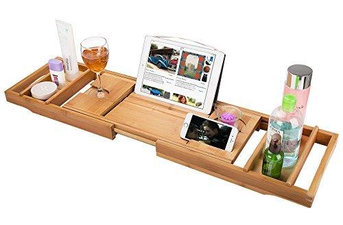 Romatlink Wood Luxury Bathtub Caddy, Natural Bamboo Slip-Resistant Base, Multi-Purpose Spa Shower Bath Tub Reading Tray Organizer, Style 1 Pink