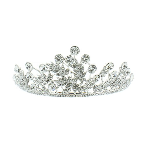 Kate Marie 'Leia' Rhinestone Crown Tiara Headband in Silver -