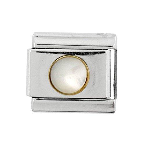 Stainless Steel 18k Gold June Birthstones Charm for Italian Charm Bracelets