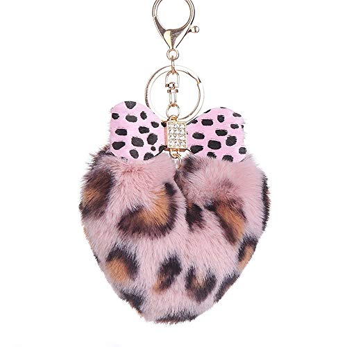 Suppion Key Chain,Fashion Leopard Heart Peach Keychain Bag Car Pendant Leopard Bow