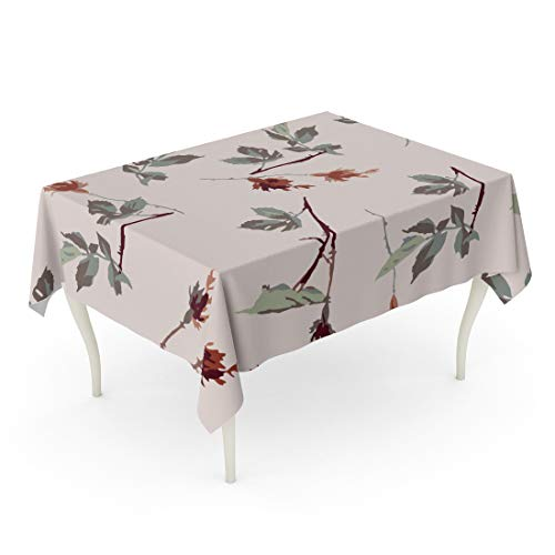 (Semtomn Rectangle Tablecloth Green Flower Romantic Leafy Rosebud Pattern Cream Off Red 60 x 102 Inch Home Decorative Waterproof Oil-Proof Printed Table Cloth)