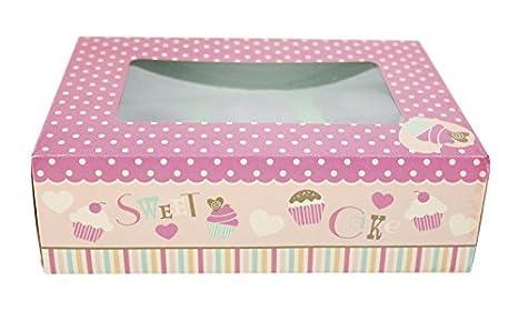 Pack de 2 grande impreso Cartón Cajas para cupcakes con inserciones y ventanas por Reina de Tartas: Amazon.es: Hogar
