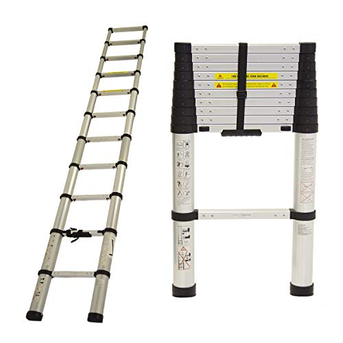 Charles Bentley En131-6 Telescopic Extendable Extension Ladder Safety Certificate - Lightweight - 3.2M