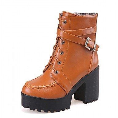 Damen Schuhe Kunstleder Herbst Winter Komfort Neuheit Stiefeletten Stiefel Blockabsatz Runde Zehe Booties / Stiefeletten Mit Schnürsenkel brown