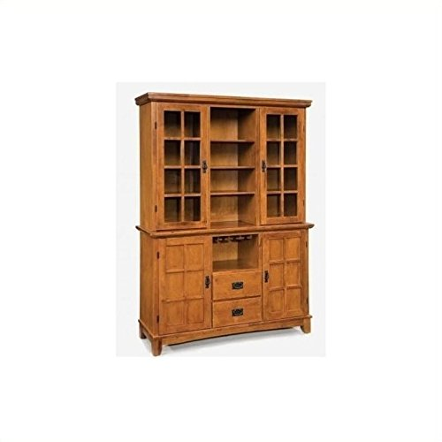 Home Styles 5180-697 Arts and Crafts Buffet and Hutch, Cottage Oak (Arts And Crafts Sideboard)