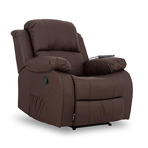 Don Descanso - Sillón Masaje Relax Calor Trevi Choco Reclinable 160º con 8 Motores Silenciosos, Calor Lumbar, Sist. Masaje 4 Zonas y Acabado en PU Anti-Cuarteo [Incluye Mando]. Ideal Gente Mayor