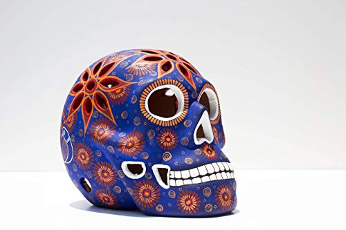 (Art Skull Head - Orange (Naranja) - Hand made ceramic sculpture painted by Mexican Artisians- Home Decor – Skeleton Decoration - Calavera Artesanal)