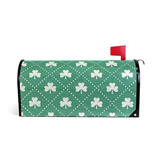 (Magnetic Mailbox Cover Shamrock Emerald Wrap- Large Size 25.5