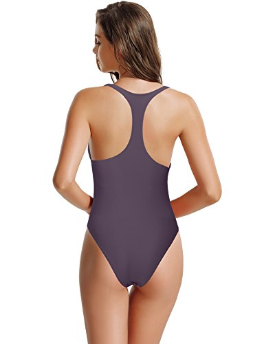 zeraca Women's Thick Straps Pro Athletic Racerback One Piece Swimsuit Bathing Suit (Rich Grape, (Elite Stretch Hat)