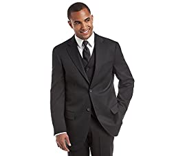 Dockers Men\'s Suit Separate Coat, Black Solid Herringbone, 44 Regular