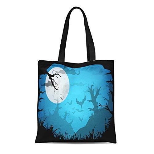 Semtomn Cotton Canvas Tote Bag Halloween Blue Spooky A4 Border Moon Death Trees Reusable Shoulder Grocery Shopping Bags Handbag Printed