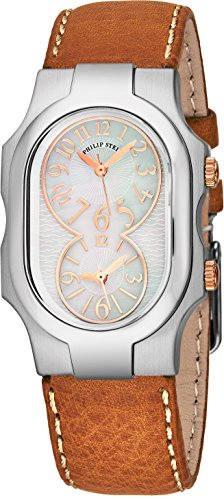 Philip Stein Signature Womens Stainless Steel Dual Time Zone Watch - Mother of Pearl Face Natural Frequency Technology Ladies Watch - Brown Leather Band Analog Quartz Watches for Women