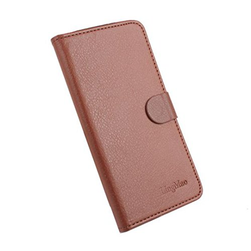 DDLBiz® Wallet Leather Case Flip Cover Shell for Doogee Valencia2 Y100/Y100 Pro Smartphone (Brown)